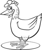 Cartoon hen coloring page Stock Photo