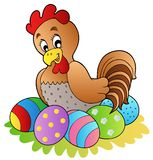 Cartoon hen with Easter eggs stock image