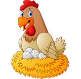 Cartoon hen with egg Royalty Free Stock Photography
