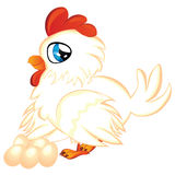 Cartoon Hen with Eggs Royalty Free Stock Image