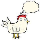 Cartoon hen with thought bubble Stock Photography