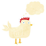 Cartoon hen with thought bubble Royalty Free Stock Images