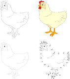 Cartoon hen. Vector illustration. Dot to dot game for kids Royalty Free Stock Photography