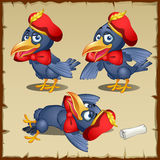 Cartoon herald crows, characters costumes posing Stock Images