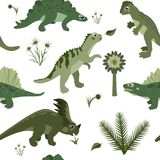 Cartoon herbivore and carnivorous dinosaurs vector seamless pattern. Cartoon herbivore and carnivorous dinosaurs, prehistoric Jurassic and Mesozoic dino, with Stock Photo