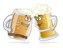 Cartoon hero beer tankard. Funny women and men on a white background Stock Image