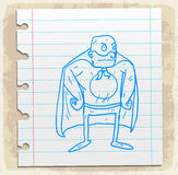 Cartoon hero on paper note, vector illustration Stock Photos