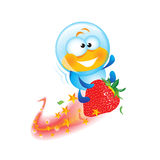 Cartoon Hero on Strawberry Come Royalty Free Stock Image