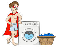 Cartoon hero washing his clothes Royalty Free Stock Photos