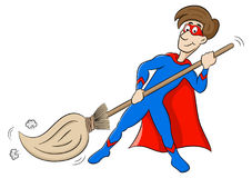 Cartoon hero who sweeps Royalty Free Stock Images