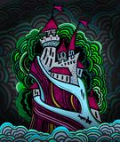 Cartoon castle in a night color. Cartoon high castle on the island in the night sea Royalty Free Stock Photography
