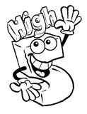 Cartoon high five. Outlined sketch of a happy character giving a high five Stock Photos