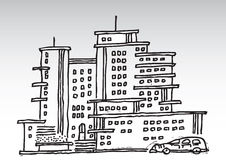 Cartoon high rise buildings. Cartoon illustration of high rise residential complex Royalty Free Stock Photography