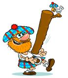 Cartoon Highland games. Cartoon caricature of man in kilt tossing caber in Highland games with funny bird Stock Photography