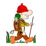 A cartoon hiker. Rambler going camping with rucksack and stick Stock Image