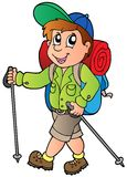 Cartoon hiker boy. Illustration Stock Images