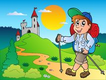 Cartoon hiker boy near castle royalty free illustration