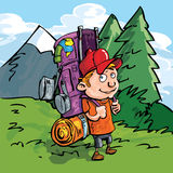Cartoon Hiker in the forest Stock Photos