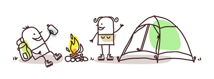 Cartoon hikers with campfire and tent Stock Photos