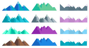 Cartoon hills and mountains set, vector isolated landscape elements Stock Images