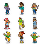 Cartoon hip hop boy dancing icon set Royalty Free Stock Photos