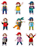 Cartoon hip hop boy dancing icon set Stock Image