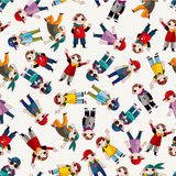 Cartoon hip hop boy dancing seamless pattern vector illustration