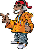 Cartoon hip hop fan. With earphones and a mini player Stock Images