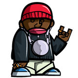 Cartoon hip hop man with bling. Isolated on white vector illustration