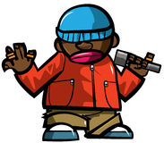Cartoon hip hop man with microphone. Isolated on white Stock Images