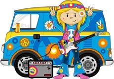 Cartoon Hippie with Camper Van Stock Images