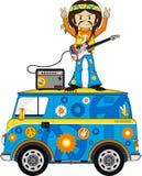 Cartoon Hippie with Camper Van Stock Image