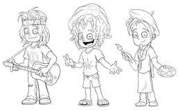 Cartoon hippie with guitar jamaican artist character vector set Royalty Free Stock Photos