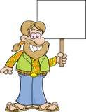 Cartoon hippie holding a sign. Stock Photos
