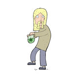 cartoon hippie man with bag of weed Stock Photos
