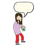 cartoon hippie man with bag of weed with speech bubble Stock Photography