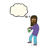 Cartoon hippie man with bag of weed with thought bubble Stock Photography