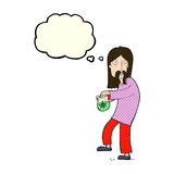 Cartoon hippie man with bag of weed with thought bubble Royalty Free Stock Photos