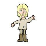 Cartoon hippie man giving thumbs up symbol Royalty Free Stock Photos