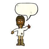 cartoon hippie man giving thumbs up symbol with speech bubble Royalty Free Stock Photo