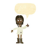 cartoon hippie man giving thumbs up symbol with speech bubble Stock Photography