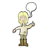 Cartoon hippie man giving thumbs up symbol with speech bubble Stock Photo