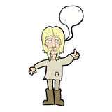 Cartoon hippie man giving thumbs up symbol with speech bubble Royalty Free Stock Photos