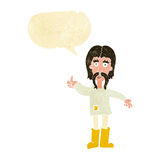 Cartoon hippie man giving thumbs up symbol with speech bubble Stock Images