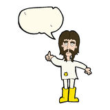 Cartoon hippie man giving thumbs up symbol with speech bubble Stock Image
