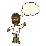 Cartoon hippie man giving thumbs up symbol with thought bubble Royalty Free Stock Images