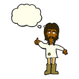 Cartoon hippie man giving thumbs up symbol with thought bubble Royalty Free Stock Photos