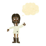 cartoon hippie man giving thumbs up symbol with thought bubble Stock Photography