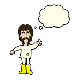 Cartoon hippie man giving thumbs up symbol with thought bubble Royalty Free Stock Image
