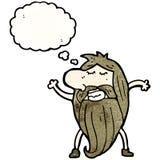 Cartoon hippie man with thought bubble Stock Photos